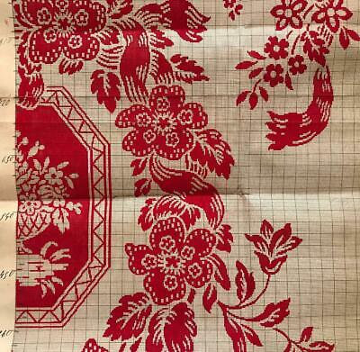 Beautiful Antique Hand Painted French Fabric Design Cartoon 9, Dated 1911, Roses