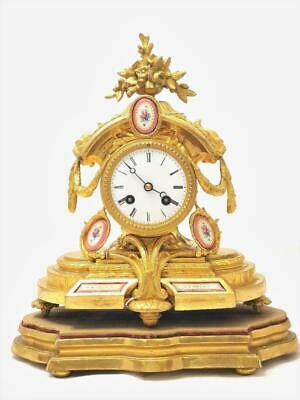Antique French Japy Fils Gilt & Sevres Porcelain Striking Mantle Clock & Base