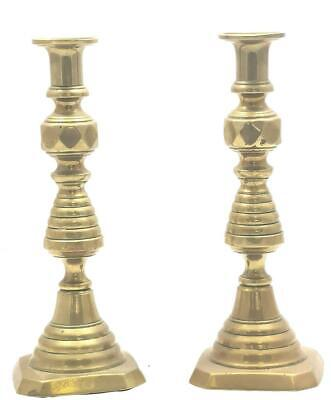 Nice Antique Pair Of Mantle Clock One Branch Embossed Brass Candelabras
