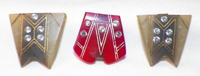 3 Art Deco Belt Buckles Hat Ornaments Celluloid Red Green Rhinestones Vintage