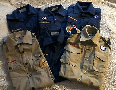 Lot 6 Boy Scouts of America Official Blue + Khaki Shirts Youth Medium Large M L