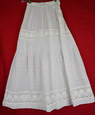 Antique Petticoat Eyelet Embroider Floral Sheer Summer Festival Skirt Victorian