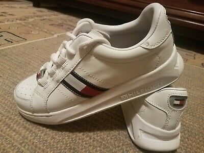2fcd6742c Vintage Tommy Hilfiger Womens Sz 6.5 Big Flag Box Logo White Leather  Sneakers