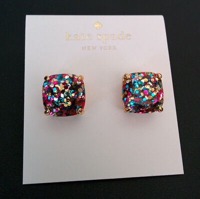 4679c5acb4114 KATE SPADE GOLD Plated Multi Color Glitter Square Stud Earrings ...