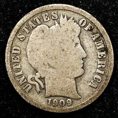 1909-S Barber Dime - 10c Silver - Good