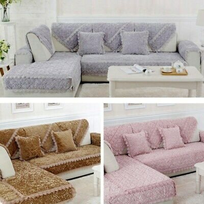 1pc Sofa Mat Elegant European Style Rose Seat Couch Cover Anti-Skid Slipcover