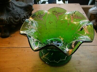 Antique VICTORIAN GREEN BLOWN  GLASS DISH with Enamel  RAISED LILY OF THE VALLEY