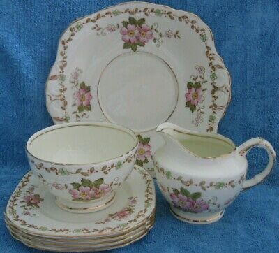 7pc vintage SUTHERLAND CHINA part TEA SET cake plate 4 side plates milk jug bowl