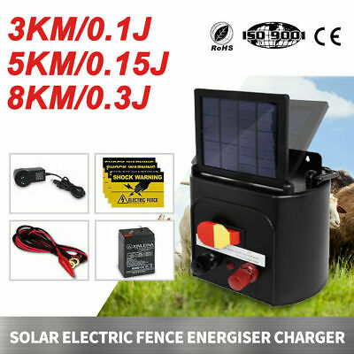 3/5/8km Solar Electric Fence Energiser Energizer Power Charger Farm Pet Animal