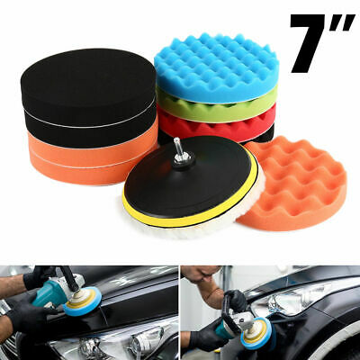 11Pcs 7inch Buffing Sponge Polishing Pad Kit Set For Car Polisher Buffer