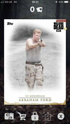 Abraham - In Memoriam - Gold - 6cc - Topps The Walking Dead Card Trader * RARE *