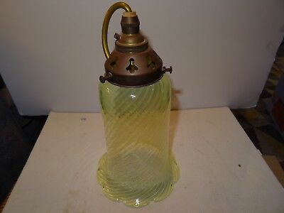 Vaseline Glass Art Nouveau/Arts & Crafts Hanging Lantern