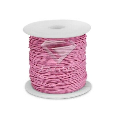 80m/Roll Waxed Cotton Cord Jewellery Making Beading Thread Thong DIY 1x1mm Pink