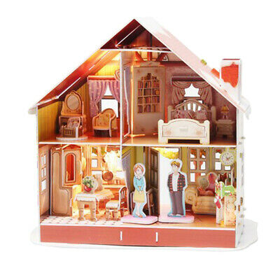 3D DIY Miniature Dollhouse Furniture Kit Handmade Apartment Model With Light