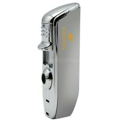 COHIBA Silver Windproof Metal 3 Jet Flame W/Cigar Punch Cigar Cigarette Lighter