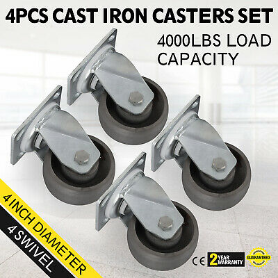 4'' Swivel Cast Iron Casters Set of 4 Durable Freight Terminals Brand-new PRO