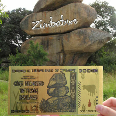 Zimbabwe 100 Trillion Dollars, Color 24K Gold bill , FANCY Note, Collection SL