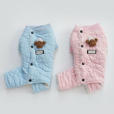 Puppy Pajamas Cotton Small Pet Dog Cat Jumpsuit Warm Indoor Home Costume Cloth!&