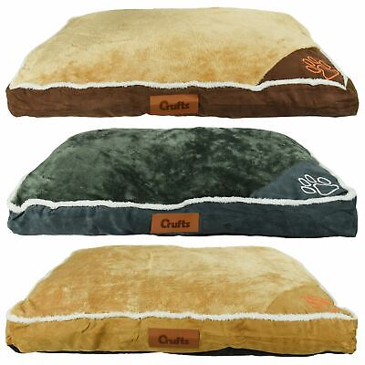 Luxury Crufts Faux Suede Fur Small Comfy Platform Pet Bed Dog Cat Rectangle Beds