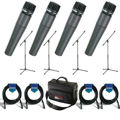 Shure 4 Pack SM57LC Cardioid, Dynamic Handheld Microphone With Accessory Bundle
