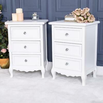 Pair of White Bedside Chest Tables French Chic Cabinet Bedroom Furniture Home