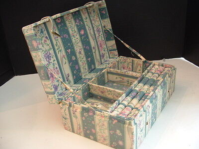 NICE OLD EARLY AMERICAN COLONIAL FABRIC Jewelry  BOX