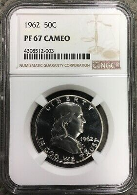 1962 50C Proof Franklin Half Dollar Ngc Pf67 Ultra Cameo.   D