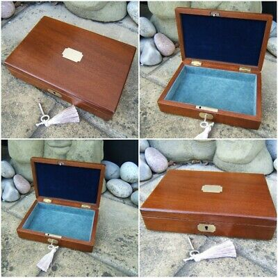 Terrific 19C Antique Mahogany Inlaid Document/Jewellery Box - Fab Interior
