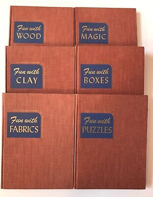 6 Vintage Book Fun with Wood Magic Clay Boxes Fabric Puzzle Joseph Leeming Lot