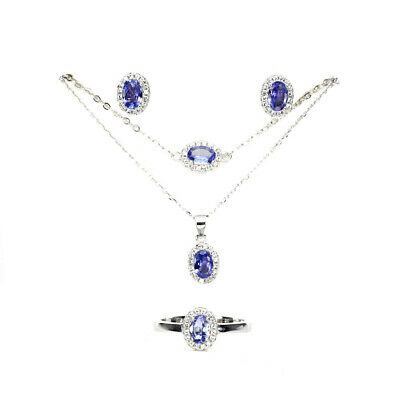 Unheated Oval 6x4mm Top Nice Blue Violet Tanzanite Cz 925 Sterling Silver Sets