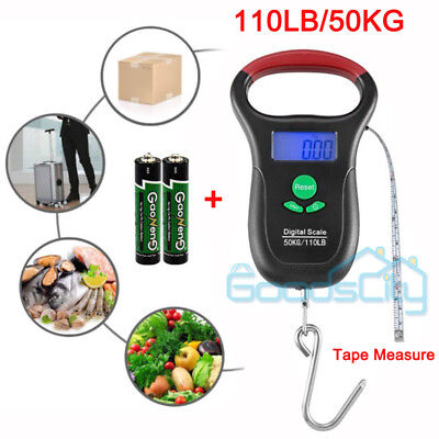 110LB Digital Fishing Scale LCD Electronic Luggage Postal Weight w/ Measure Tape