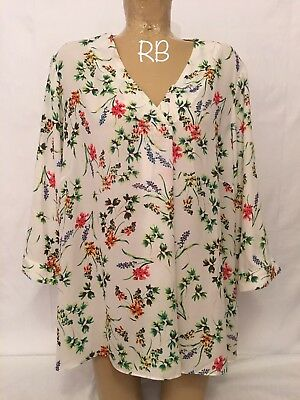 0415dfc895f60 Rose + Olive White Green Floral V Neck Shirt Top Blouse Plus Size 2x 26