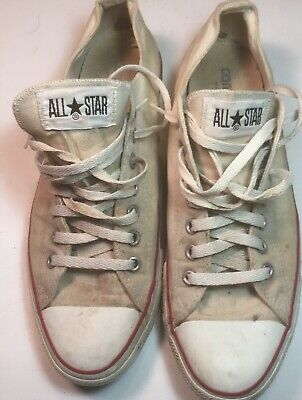 c8d1e9b54d12 Vintage 1980 s Converse All Star White Low Top Canvas MADE IN USA Sz 10.5