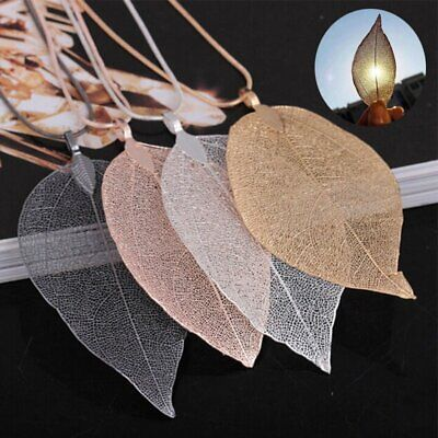 Fashion Women Leaves Leaf Sweater Pendant Necklace Long Chain Charm Jewelry Gift