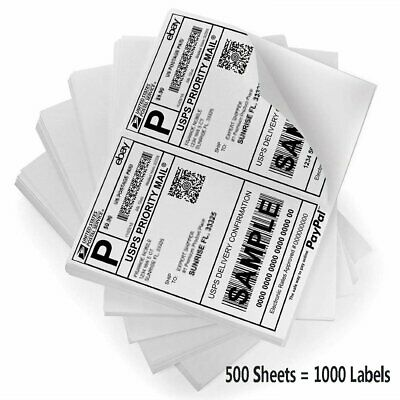 1000 Premium Labels Shipping 8.5x5.5 Half-Sheet Self Adhesive Mailing Labels
