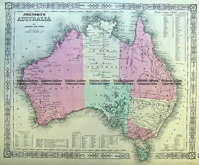 Antique Map 3-987  Australia by Johnson & Ward  c.1859 Antique Map