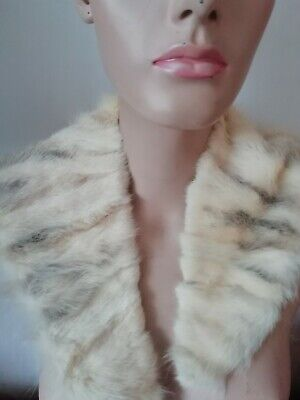 Vintage real Fur Shawl 50 's white mink fab soft luxury ideal over dress/jacket