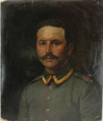 European MYSTERY ARTIST Oil on Board Portrait Painting of a Military Man NR HOR