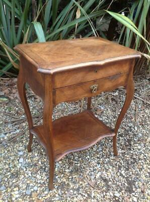 Antique French Walnut & Oak Work Table Mirror Lift Top Console Table Rustic Chic