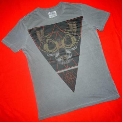 """All Saints Rare """"obscure Ss Crew"""" Graphic T-Shirt Top Tee - M Medium - Grey"""