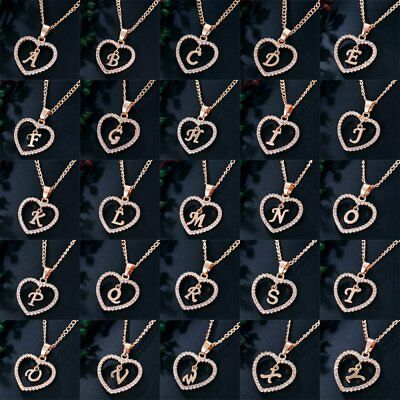 Fashion Letter A-Z Crystal Heart Love Initial Alphabet Necklace Pendant Chain