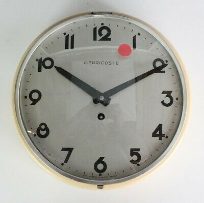 Vintage Signed J. Auricoste French Mid Century Modern Mechanical Wall Clock HOR