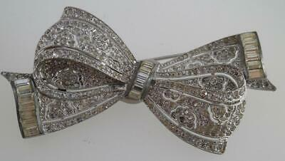Antique Art Deco Chrome Plated 1930s/40s Large Paste Bow Brooch/Pin (SV23