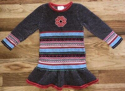 9d4b5de2e2 HANNA Andersson GIRLS 100 Dress LONG Sleeve SWEATER Fair ISLE Brown BLUE  Coral 4