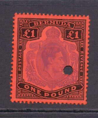 * BERMUDA SG121d KGVI £1 Purple Black and Red Keyplate Fine Used with Puncture