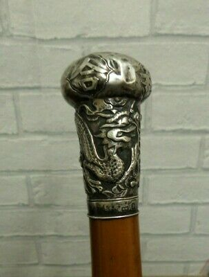 Antique Victorian Period Chinese Silver Top Walking Cane / Stick Kwan Wo