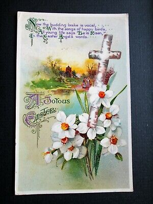 A JOYOUS EASTER, NARCISSUS FLOWERS, CROSS - WILDT & KRAY No 2764 (1913)