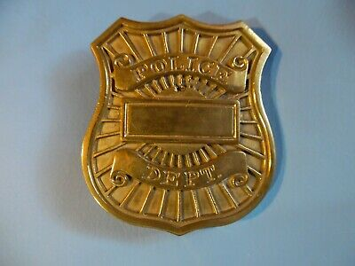 Belt Buckle Police Dept 78 Baron Solid Brass Gold Tone FREE US SHIP *Please Read