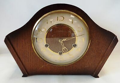 Vintage SMITHS Wooden Mantle Clock With Pendulum And Key - H29