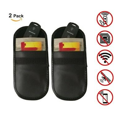 2x Car Key Keyless Entry Anti-Theft Fob Signal RFID Blocker Pouch Faraday Bag cw